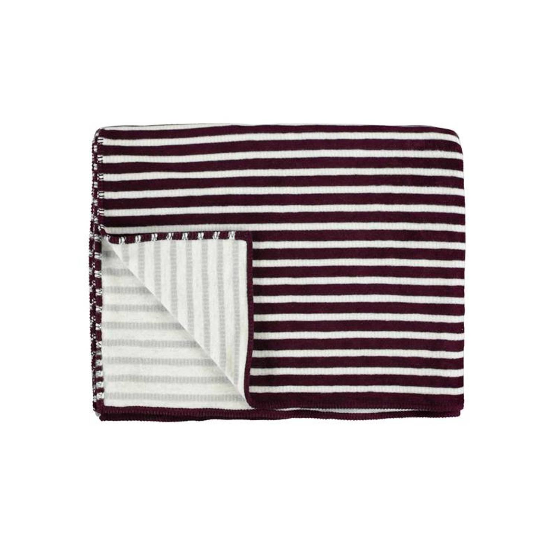 Marc O'Polo Marc O'Polo Veln fleece plaid - 58% katoen - 35% acryl - 7% polyester - 150x200 cm - Plum