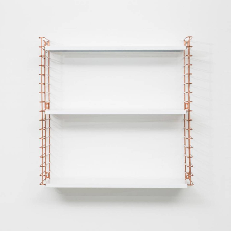 Tomado boekenrek - koperkleurig frame en witte planken
