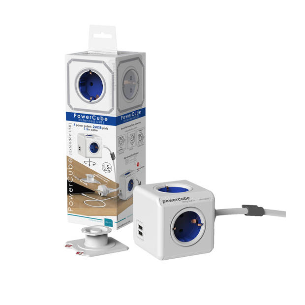 Powercube extended duo usb 4 stopcontacten met 2x usb lader - blauw