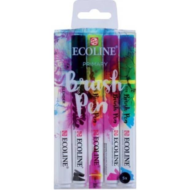 Talens Ecoline Brush pen, etui met 5 stuks in de primaire kleuren