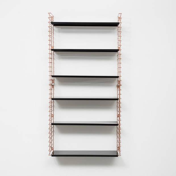Tomado boekenrek - koperkleurig frame en zwarte planken