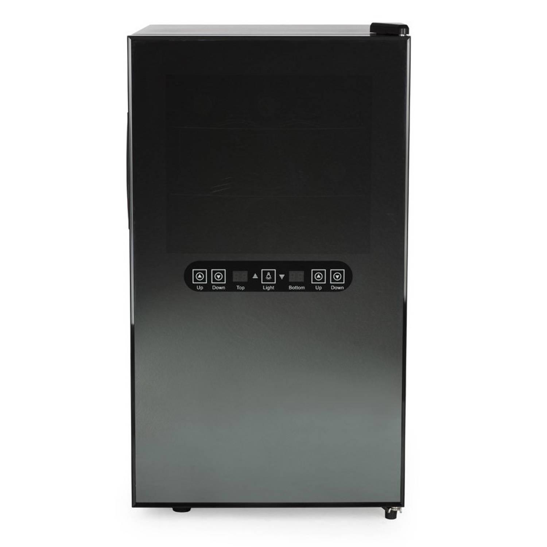Amstyle Design Wijnkoelkast Klimaatkast Zwart - 18 Flessen, 2 Klimaatzones, Instelbaar 8-18°C - Wijnkoeler