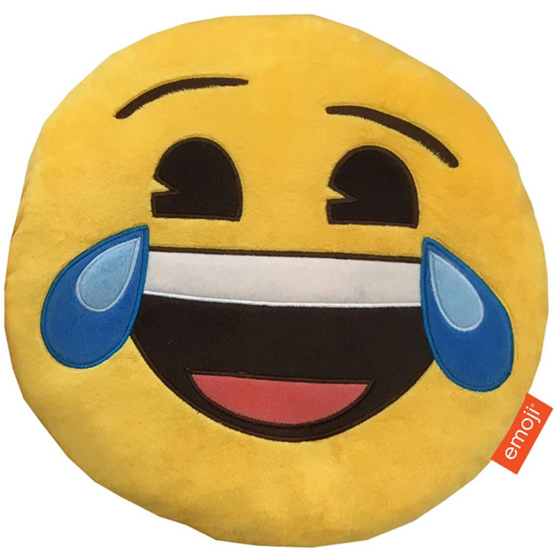 Emoji 3d pluche happy tears - sierkussen - 28 x 28 x 7 cm - geel
