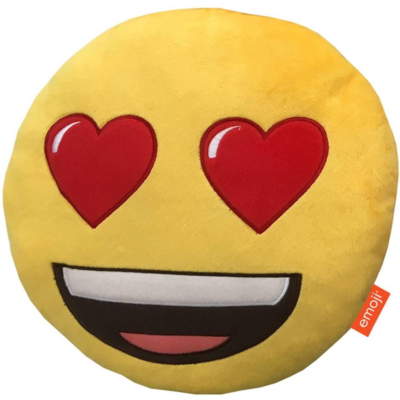 Emoji 3d pluche heart eyes - sierkussen - 28 x 28 x 7 cm - geel