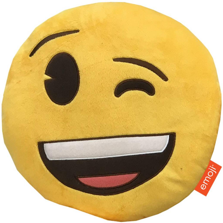 Emoji 3d pluche wink - sierkussen - 28 x 28 x 7 cm - geel