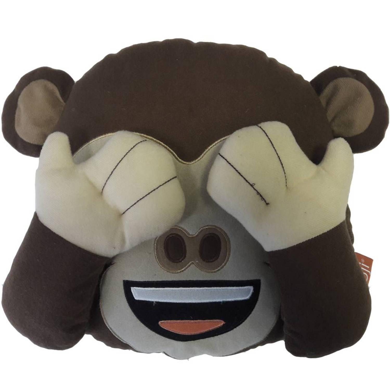 Emoji 3d pluche monkey - sierkussen - 26 x 26 x 9 cm - bruin