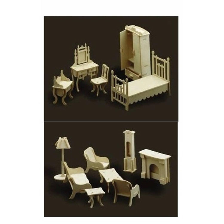 Poppenhuis meubels slaapkamer en woonkamer blokker for Meubels poppenhuis