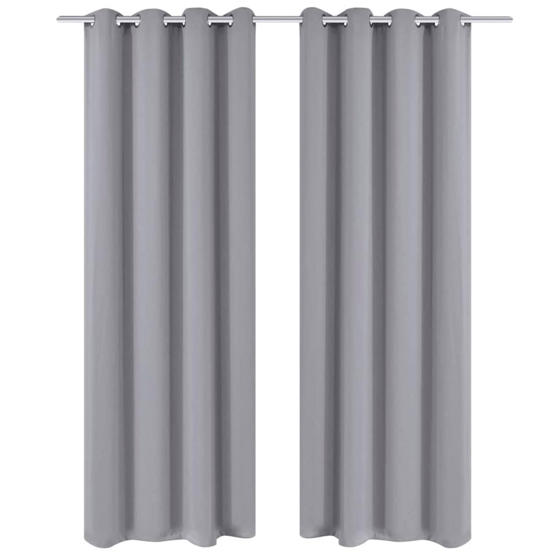 vidaXL Gordijnen met metalen ringen verduisterend 135x175 grijs 2 st