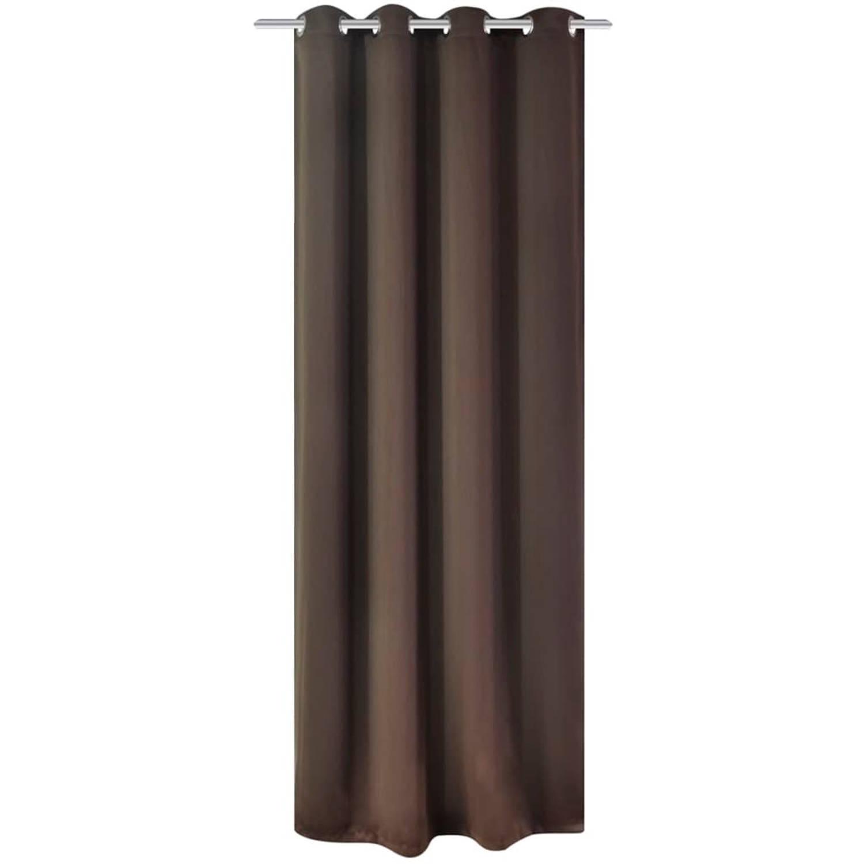vidaXL Gordijn met metalen ringen verduisterend 270x245 bruin