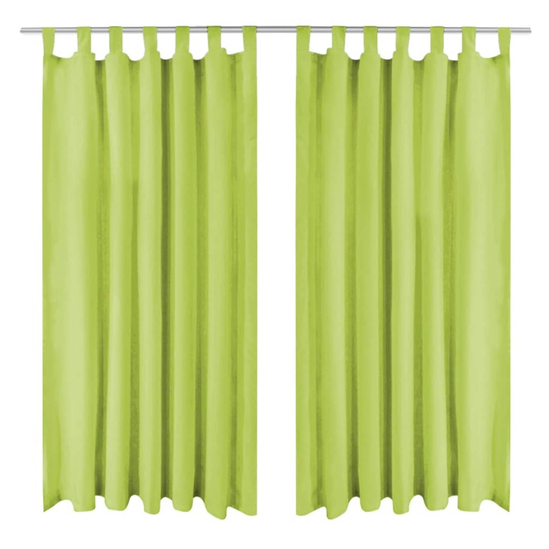 vidaXL Micro-satijnen gordijnen met lussen 140x245 cm groen 2 st