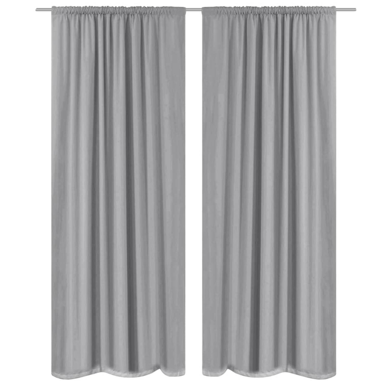 vidaXL Gordijnen verduisterend dubbellaags 140x175 cm grijs 2 st