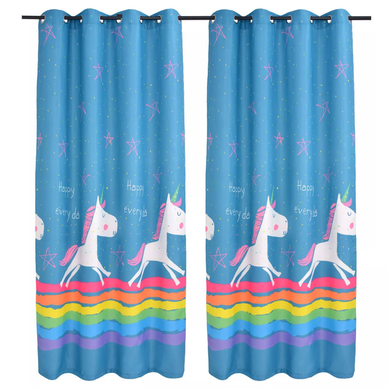 vidaXL Kindergordijnen verduisterend eenhoorn 140x240 cm blauw 2 st
