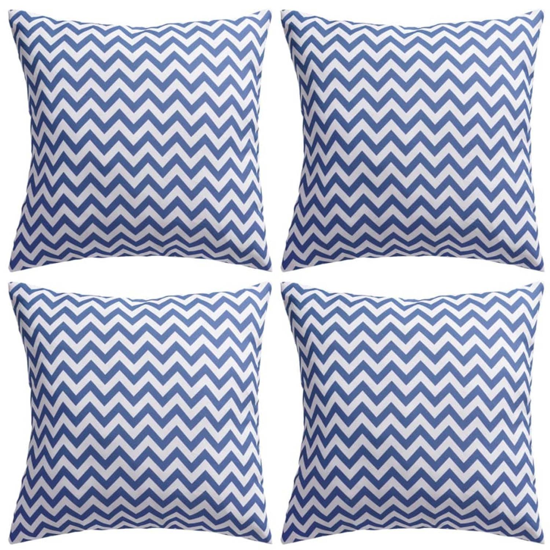 Vidaxl buitenkussens met zigzag print 45x45 cm marineblauw 4 st