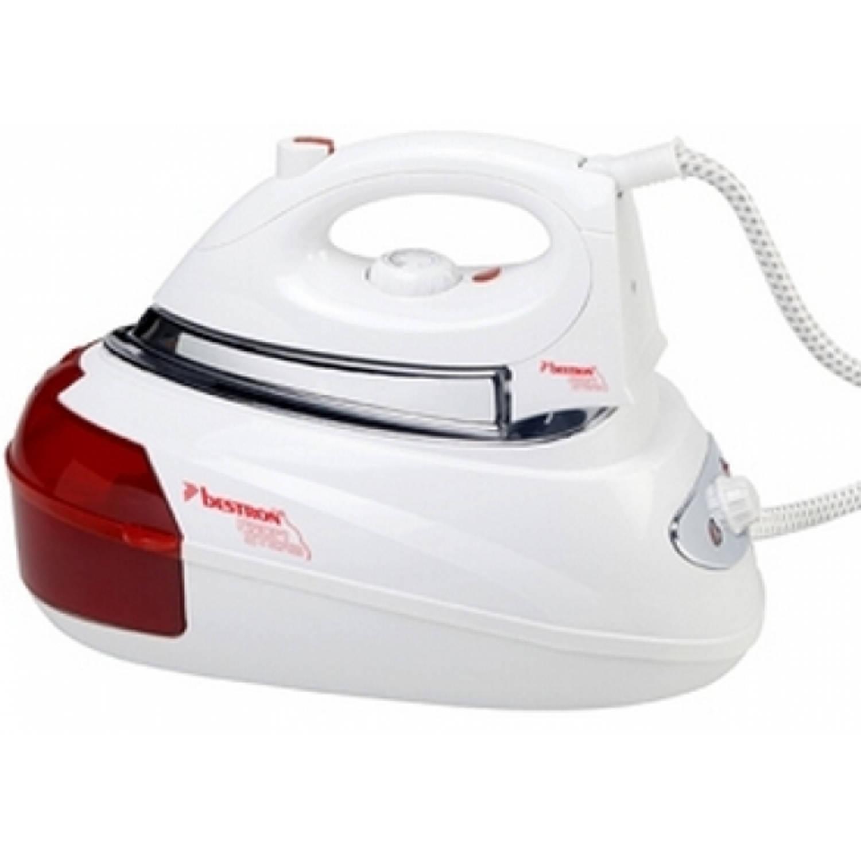 Bestron ast8000 2600w 0.8l roestvrijstalen zoolplaat rood, wit stoomstrijkijzerâstation