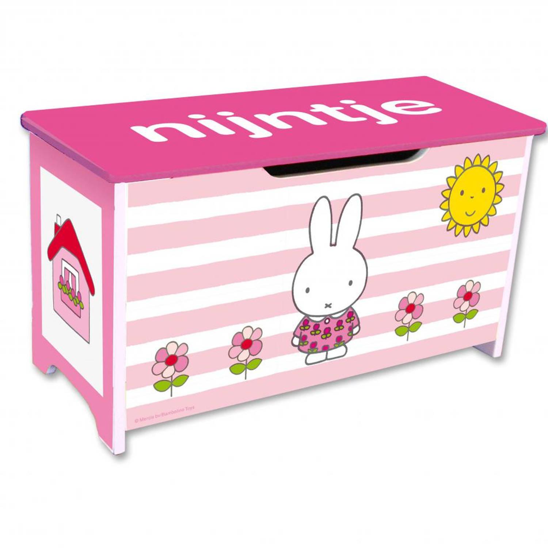 Nijntje houten speelgoedkist - roze