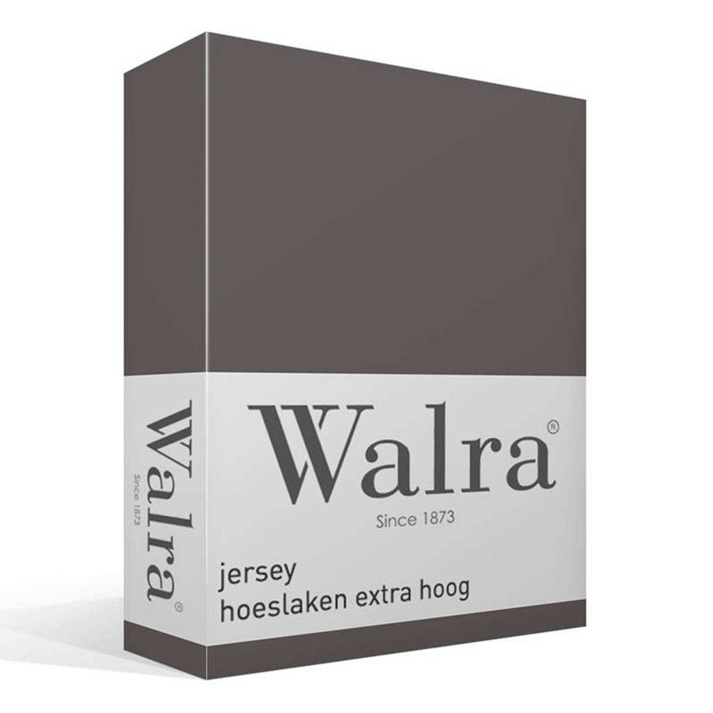Walra jersey hoeslaken extra hoog - 100% gebreide katoen - Lits-jumeaux (180/200x200/220 cm) - Grijs