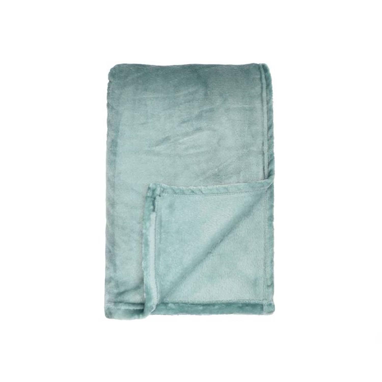 Unique Living Blush plaid - 100% polyester, Fleece polyester - 150x200 cm - Blauw, Mineral Blue