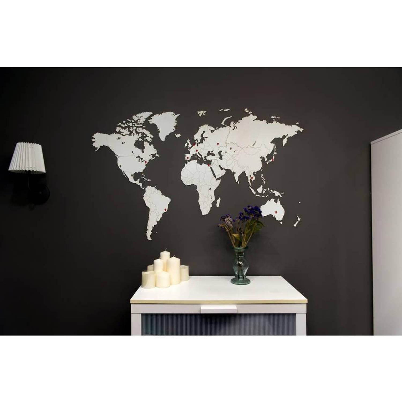 Luxe houten wereldkaart muurdecoratie 130 x 78 cm wit