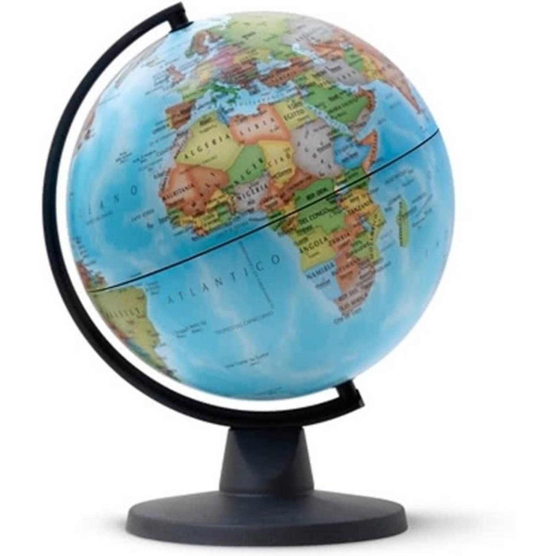 Afbeelding van globe Mini 16cm diameter zwart politiek kaartbeeld