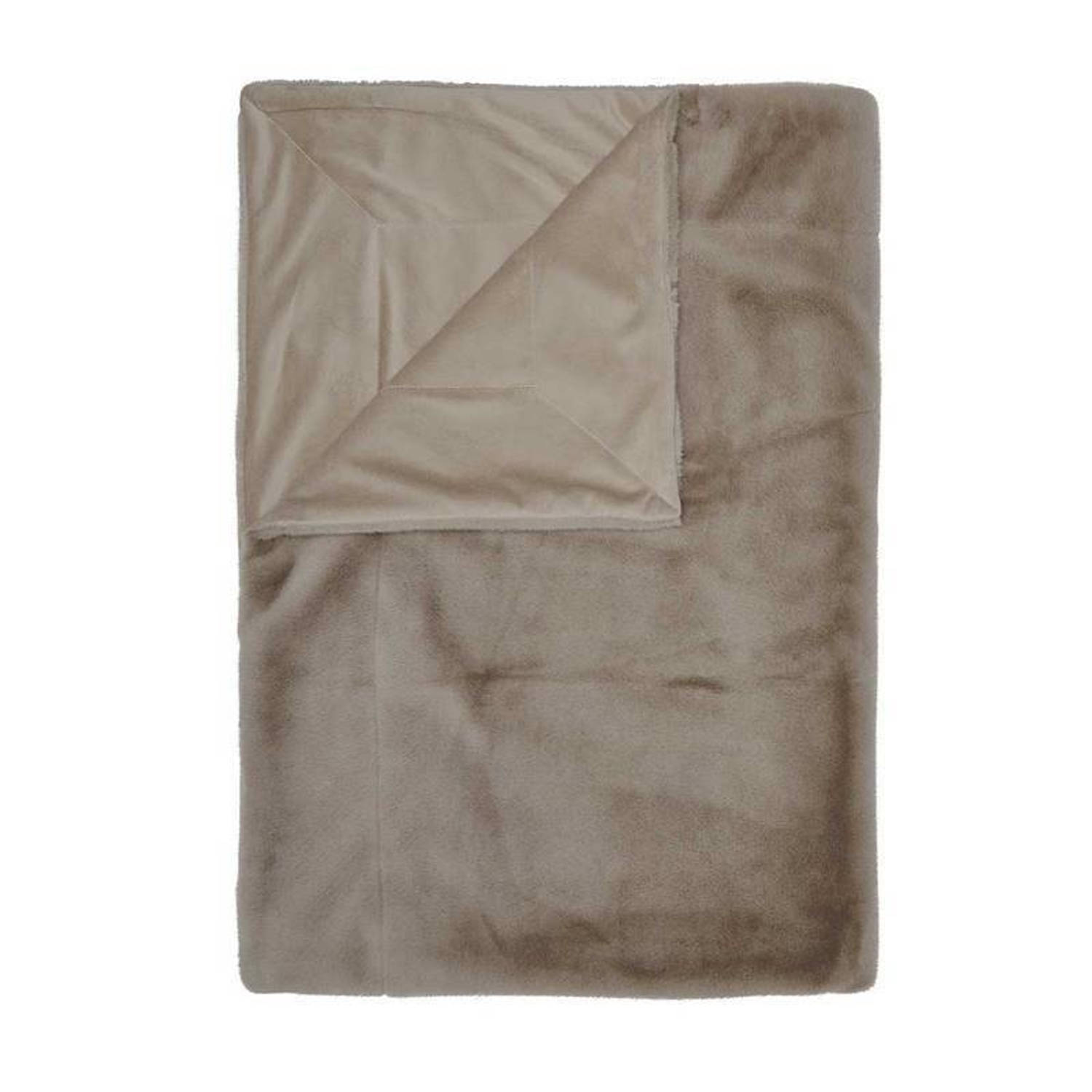Essenza Furry plaid - 100% polyester - 150x200 cm - Taupe