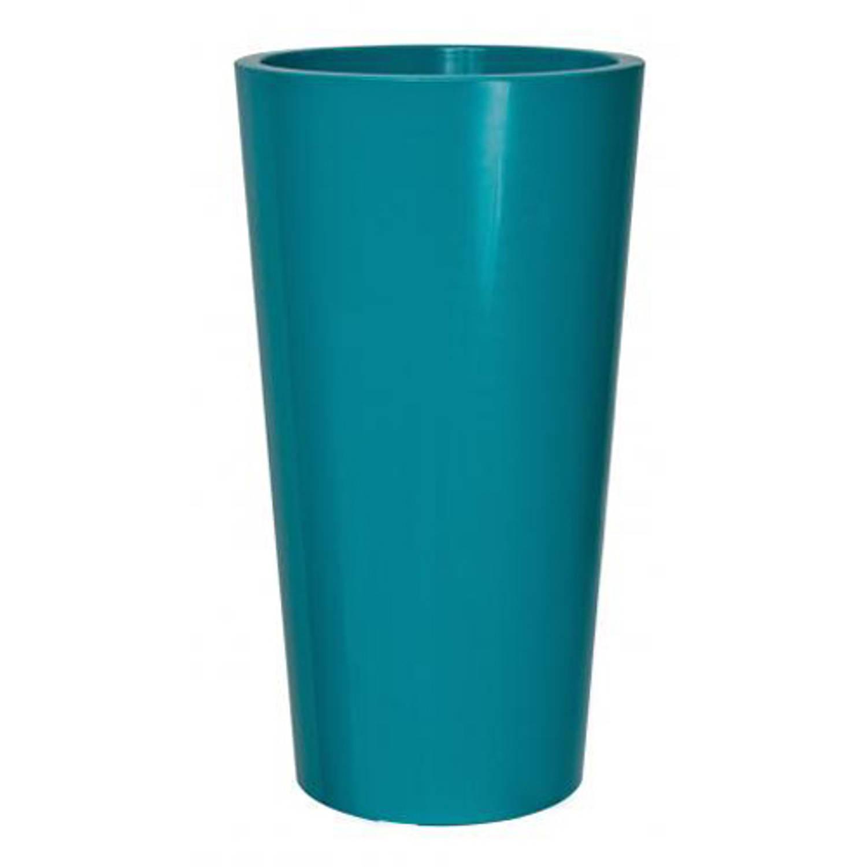 Bloempot buiten hoog rond tuit 33cm blauwgroen euro3plast