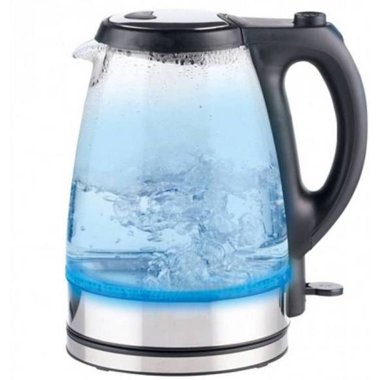 Dunlop Glazen Waterkoker RVS met blauw LED (1,7 Liter)