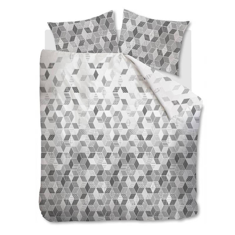 Beddinghouse Scalene dekbedovertrek - 100% katoen - 2-persoons (200x200/220 cm + 2 slopen) - 2 stuks (60x70 cm) - Grijs