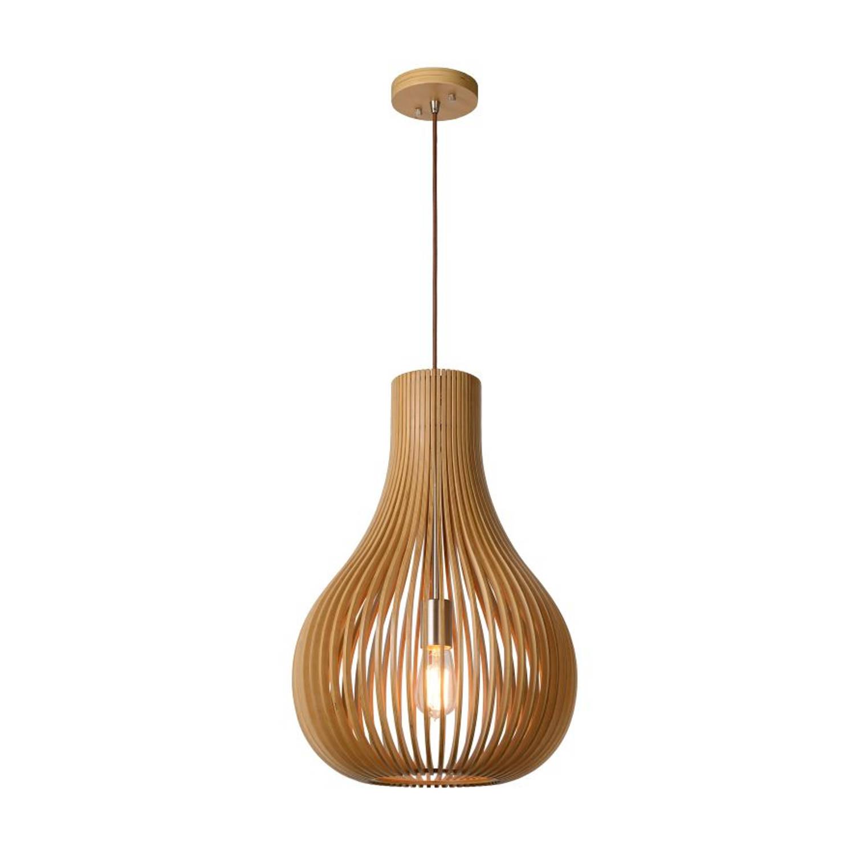 Lucide BODO - Hanglamp - Ø 38 cm - Licht hout