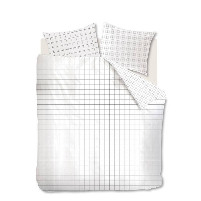 Afbeelding van Ambiante Colin dekbedovertrek - 100% katoen - 2-persoons (200x200/220 cm + 2 slopen) - 2 stuks (60x70 cm) - Wit
