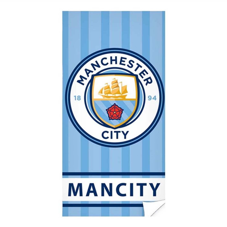 Manchester City strandlaken - 100% katoen - 70x140 cm - Blauw