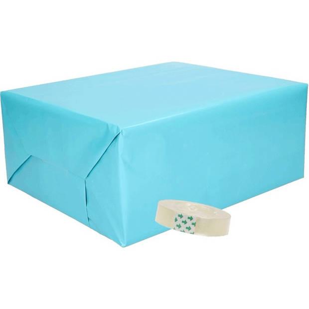 3x inpakpapier aqua inclusief plakband - cadeaupapier