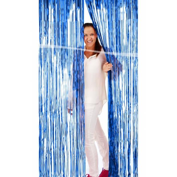 Blauwe versiering folie deurgordijn 2 x 1 meter