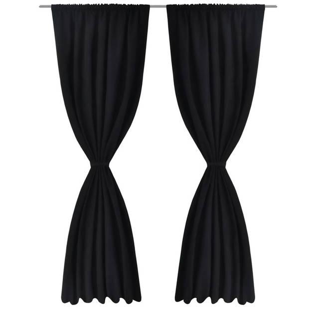 vidaXL Gordijnen verduisterend dubbellaags 140x175 cm zwart 2 st