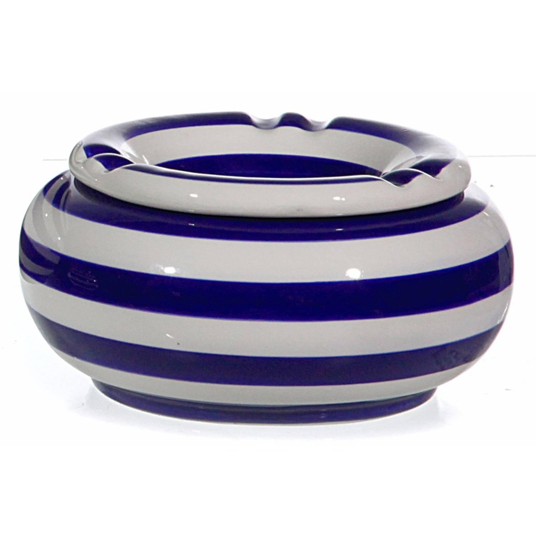 Blauw/witte Terrasasbak/stormasbak 13 Cm - Buiten Asbakken - Tafelaccessoires - Tuin Artikelen
