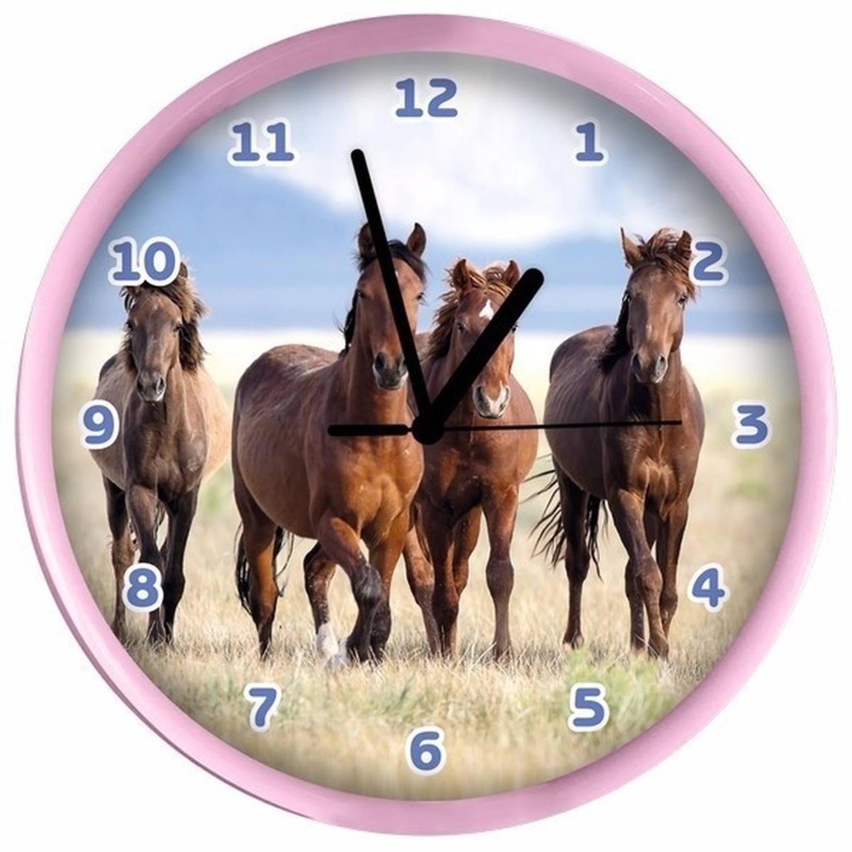 Dieren wandklok paarden roze 25 cm