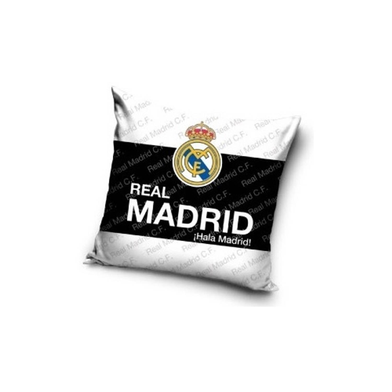 Real Madrid Kussen logo 40 x 40 cm wit/zwart