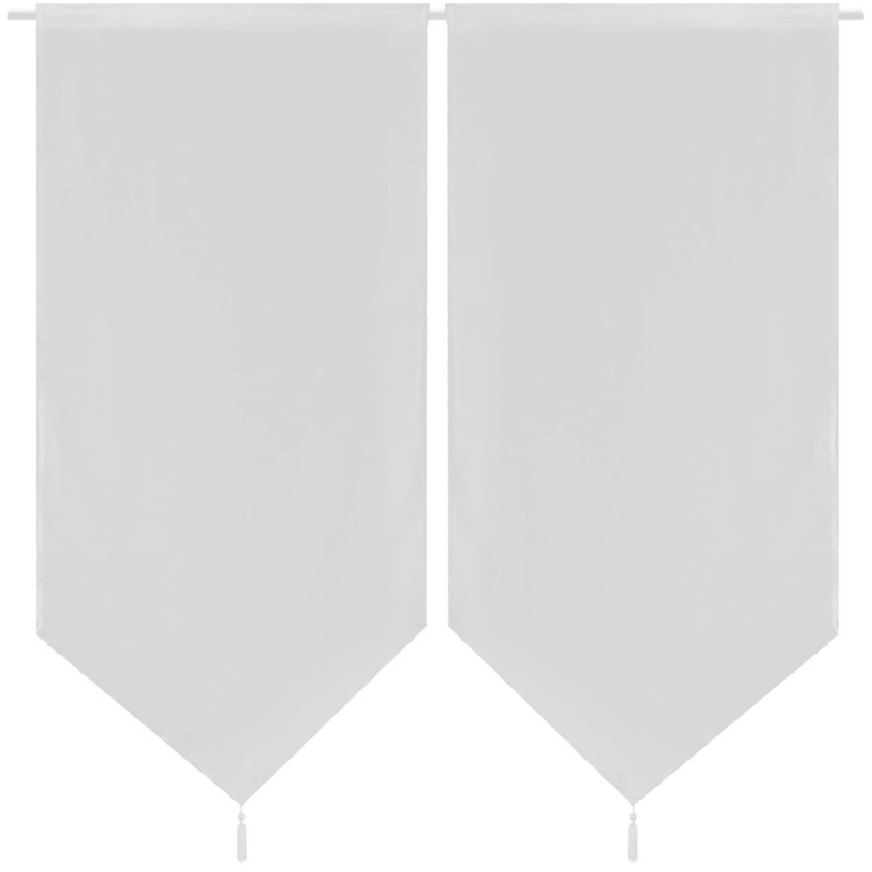 2 Keukenvitrages linnenachtig 60 x 90 cm wit