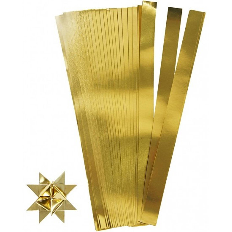 Afbeelding van 100 papieren stroken goud 73 cm