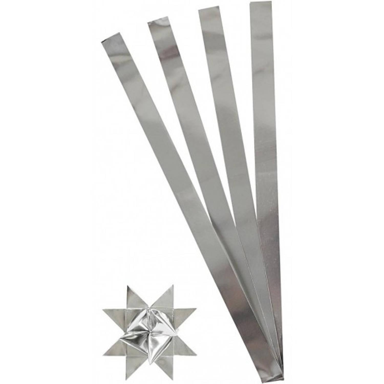 Afbeelding van 100 papieren stroken zilver 73 cm