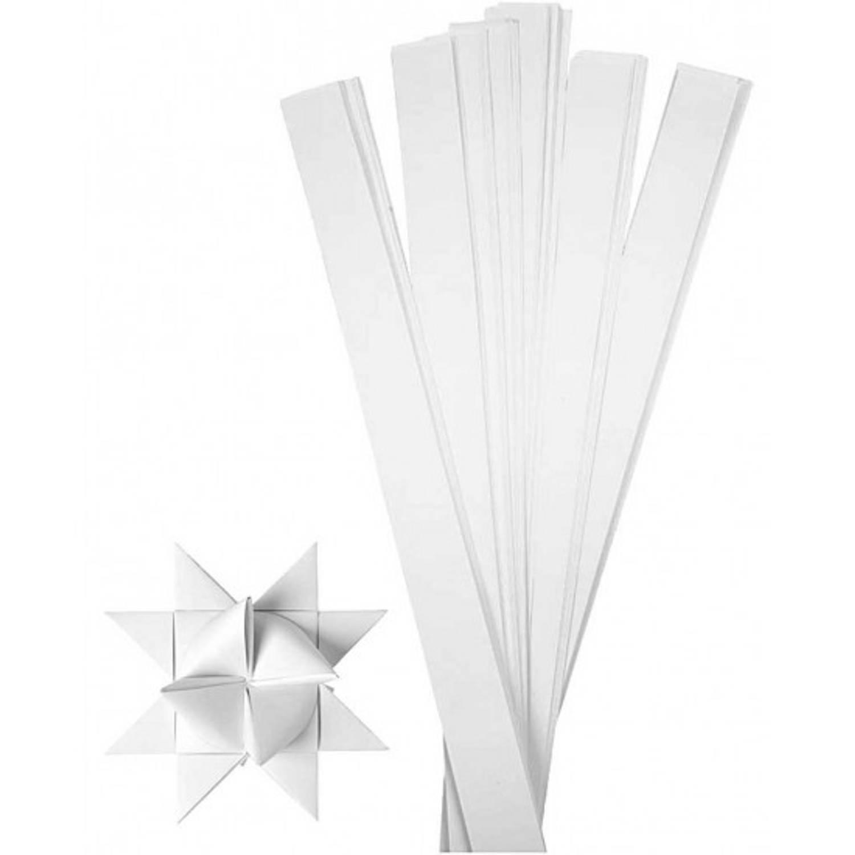 Afbeelding van 100 papieren stroken wit 73 cm