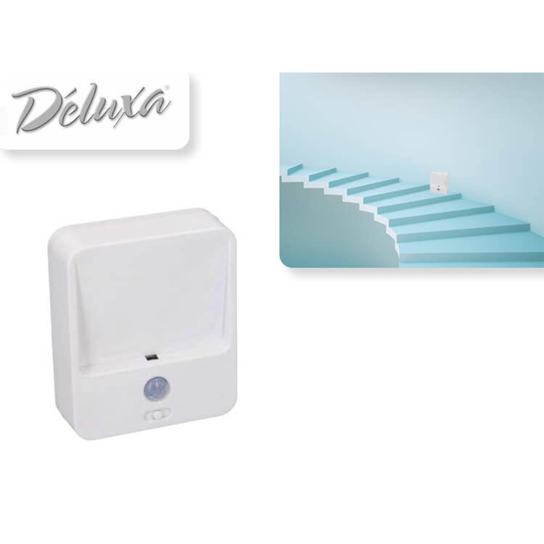 Deluxa LED Nachtlampje met Bewegingssensor - Wit - 3Standen (Auto, On, Off) - Nachtlampje voor bij trappen e.d.