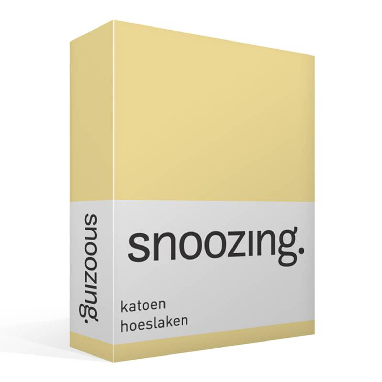 Korting Snoozing Katoen Hoeslaken 180x220 Geel