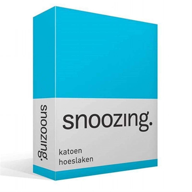 Snoozing katoen hoeslaken - 100% katoen - Lits-jumeaux (160x220 cm) - Turquoise