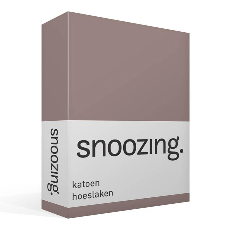 Snoozing - Katoen - Hoeslaken - 80x220 - Taupe