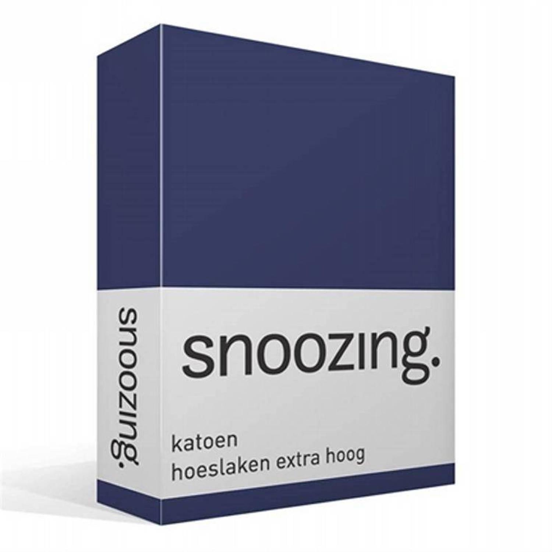 Snoozing katoen hoeslaken extra hoog - 100% katoen - Lits-jumeaux (180x200 cm) - Navy