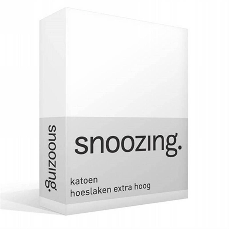 Snoozing - Katoen - Extra Hoog - Hoeslaken - 160x220 - Wit