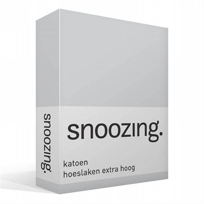 Snoozing - Katoen - Extra Hoog - Hoeslaken - 120x200 - Grijs