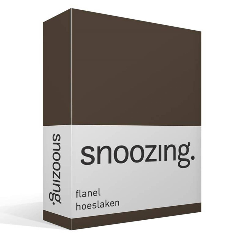 Snoozing flanel hoeslaken - 100% geruwde flanel-katoen - 1-persoons (70x200 cm) - Bruin