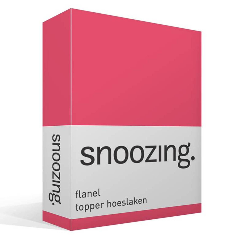 Snoozing flanel topper hoeslaken - 100% geruwde flanel-katoen - Lits-jumeaux (180x210/220 cm) - Roze