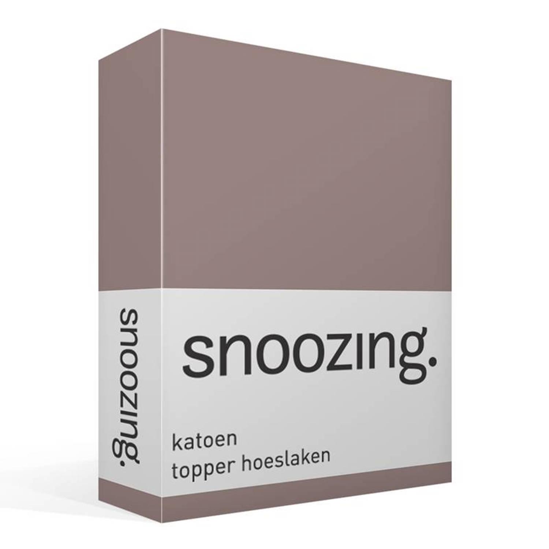 Snoozing - Katoen - Topper - Hoeslaken - 100x220 - Taupe
